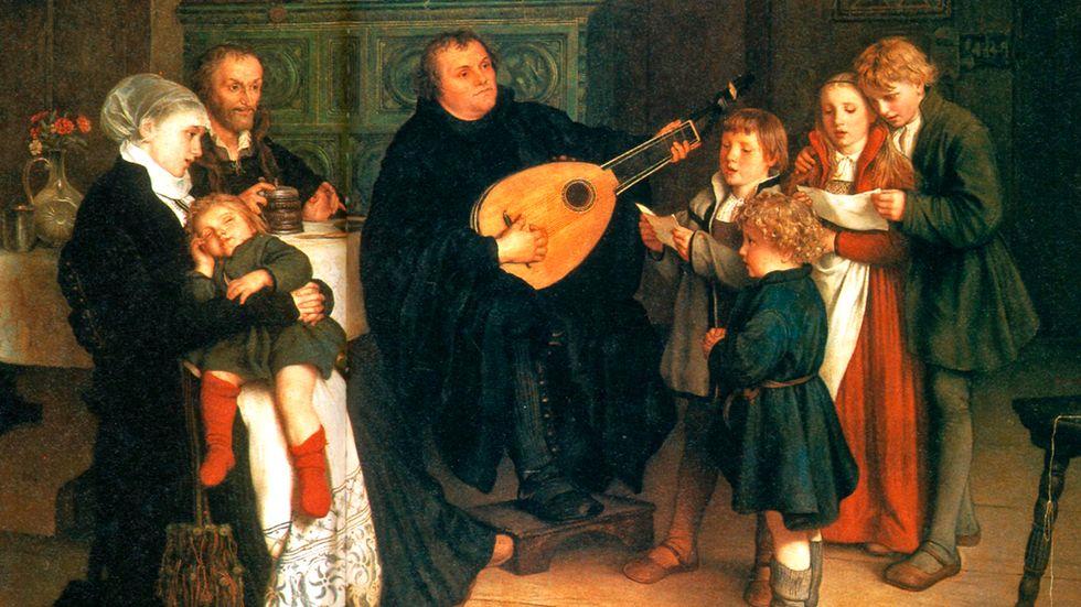 """""""Luther musicerar tillsammans med sin familj"""". Oljemålning av Gustav Spangenberg cirka 1875."""
