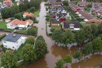 Översvämning i Gävle efter extrema skyfall. Arkivbild.