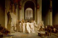 Mordet på Gaius Julius Caesar, målning av Jean-Léon Gérôme, cirka 1860 (beskuren).