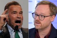 Arnold Schwarzenegger och SvD:s Hannes Delling.