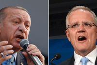 Recep Tayyip Erdogan och Scott Morrison.