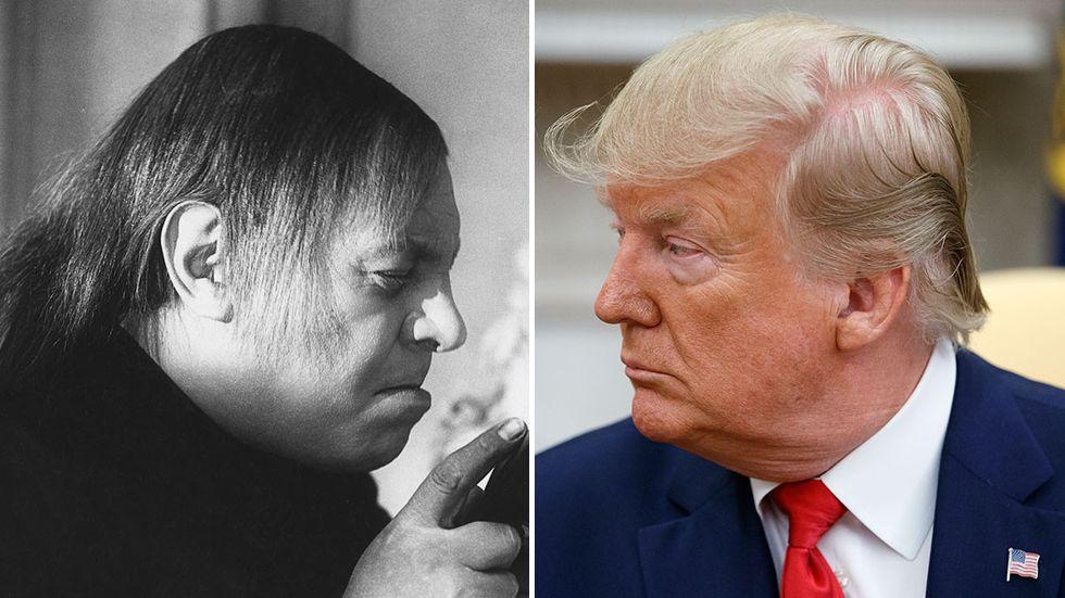 Skådespelaren Emil Jannings i rollen som Tartuffe 1925 och USA:s president Donald Trump.
