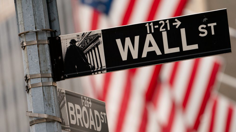 Finansgatan Wall Street på Manhattan i New York.