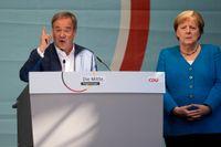 Angela Merkel talade till väljarna i Aachen och uppmanade dem att rösta på Armin Laschet.