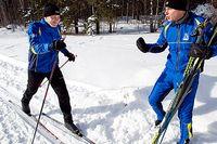 Henrik Blixt och Einar Halvorsen på IBM laddar för att åka Stafettvasan. En tävling som blir allt populärare bland företagslag. IBM har varit med länge eftersom företaget är ett av loppets största sponsorer.