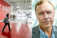 Det är omöjligt att rättfärdiga Tesla-aktiens skyhöga värdering, säger finansanalytikern Peter Malmqvist till SvD.