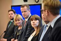 Johan Hedin (C), Beatrice Ask (M), Inrikesminister Anders Ygeman, Annika Hirvonen Falk (MP), Roger Haddad (L) och Andreas Carlson (KD).