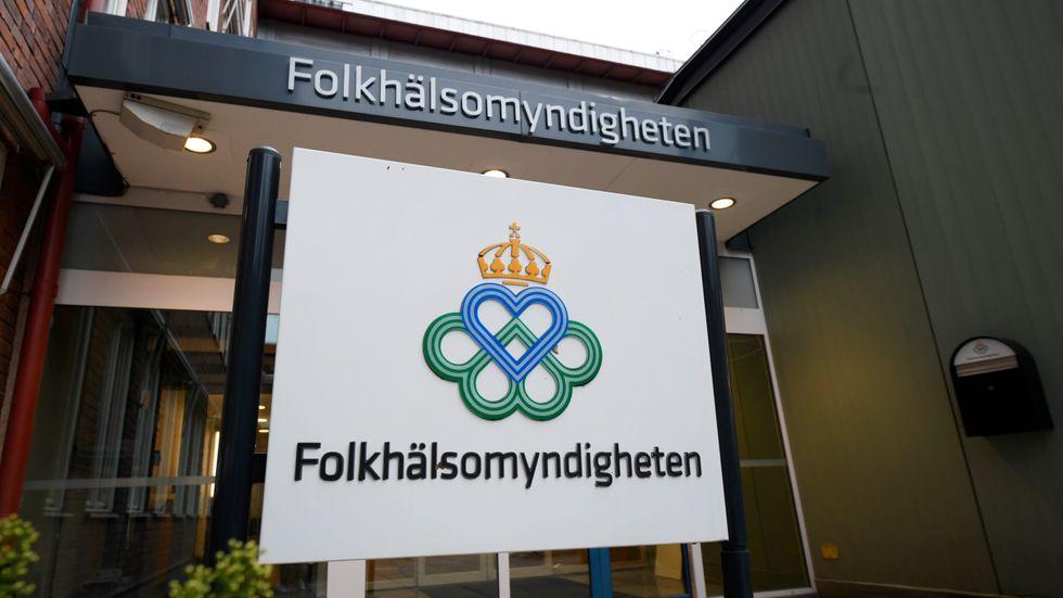 Entrén till Folkhälsomyndigheten i Solna, Stockholm. Arkivet.