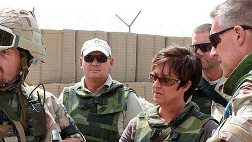 Socialdemokraternas partiledare Mona Sahlin (S) på besök i Afghanistan