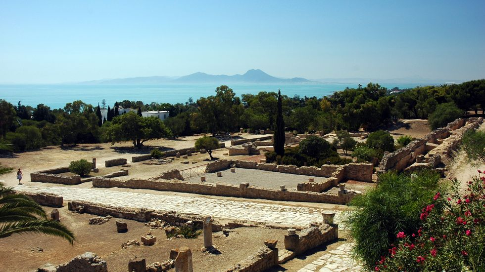 Rester av Karthago utanför huvudstaden Tunis i Tunisien.
