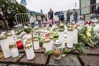 Den avspärrade platsen på Salutorget i Åbo, där flera personer knivhöggs under fredagseftermiddagen.