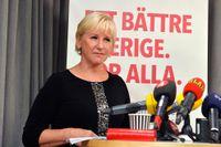 Margot Wallström på pressträffen.