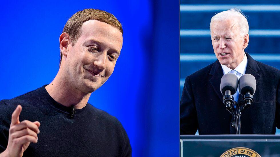 Mark Zuckerberg och Joe Biden.