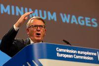 EU:s arbetsmarknadskommissionär Nicolas Schmit hoppas få igenom sitt förslag om kriterier för minimilöner i EU. Arkivbild.