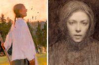 """Från realism via symbolism mot färgexpressionism: """"Eko"""" (1891), självporträtt (1894–95), samt """"Poet"""" från 1940."""