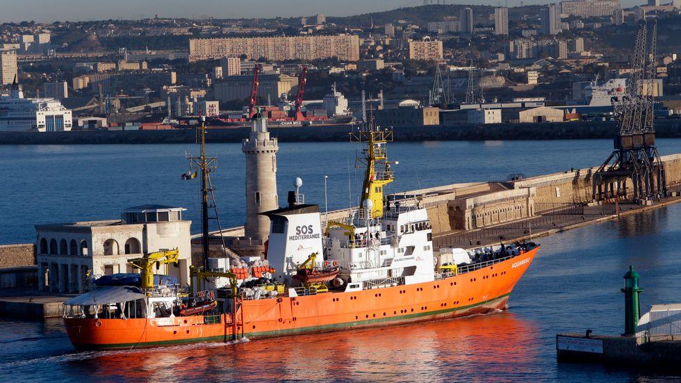 SOS Mediterranées fartyg Aquarius i hamnen i Marseille i oktober 2018. Arkivbild.