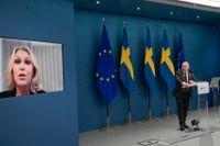 Justitieminister Morgan Johansson och socialminister Lena Hallengren presenterade satsningarna på en pressträff.