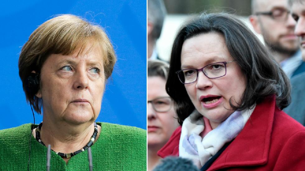 Angela Merkel och Andrea Nahles.