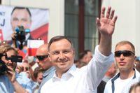 Polens president Andrzej Duda under valrörelsen i juni. Arkivbild.