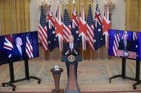 "USA:s president Joe Biden, Australiens premiärminister Scott Morrison och Storbritanniens dito Boris Johnson lanserar ""AUKUS"" (Australia, the United Kingdom, the United States), ett trilateralt säkerhetssamarbete."