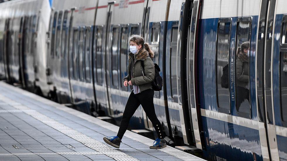 Ett tåg på stationen i Münster i Tyskland. Arkivfoto.
