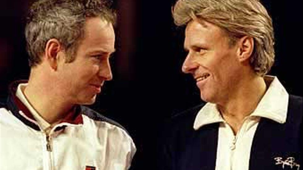 Inför en seniormatch i London i december 1997 kunde herrarna McEnroe och Borg le åt varandra igen. Annat var det under det numera klassiska mötet i Wimbledon sju och ett halvt år tidigare.