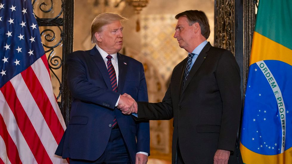 West Palm Beach, Florida i mars. Trump och Bolsonaro möts.