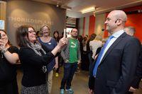 Statsminister Fredrik Reinfeldt besökte Thorildsplans gymnasium under onsdagen.