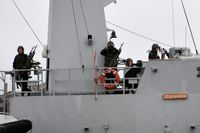 Korvetten HMS Stockholm patrullerade vid Nåttarö i Stockholm södra skärgård tidigare i veckan.