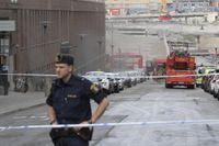 Det brann i ett garage i Vasastan i centrala Stockholm.