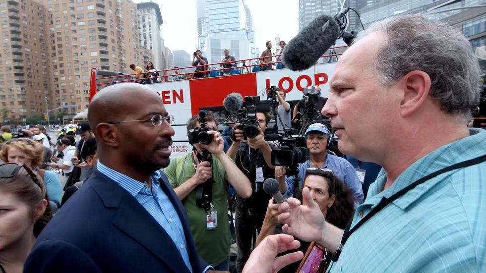 Från vänster: Van Jones, författare och tidigare Barack Obamas rådgivare i miljöfrågor, och regissören Jeff Gibbs vars film väckt debatt.