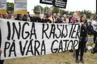 Protest mot Sverigedemokraterna i årets upplaga av almedalsveckan.