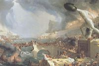 """""""The course of empire – destruction"""" av Thomas Cole cirka 1833–1836."""