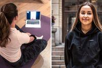 Johanna Sjöholm, 18, yogar med en kompis via Facetime.