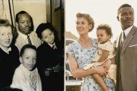 """Till vänster: Seretse och Ruth Khama med barnen Jacqueline och Ian Seretse i London 1956, på väg att återvända till Bechuanaland, nuvarande Botswana. Till höger: Rosamund Pike och David Oyelowo i """"A United Kingdom""""."""