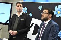 Sverigedemokraternas partiledare Jimmie Åkesson och Oscar Sjöstedt, ekonomisk-politisk talesperson (SD).
