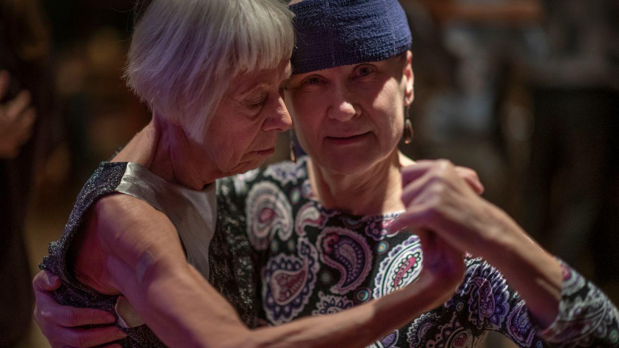Birgitta Holm och danspartnern Leena Paloranta på Stallet i Stockholm.