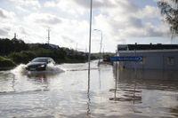 Översvämningar på Ekenleden i Kållered utanför Göteborg.