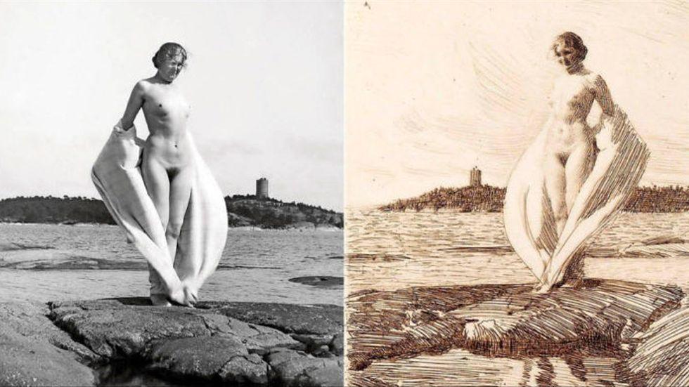 """Anders Zorns etsning """"Svanen"""" från 1915 och fotoförlagan från Sandhamn, från utställningen """"Zorn och kameran"""" på Fotografiska i Stockholm 2015."""