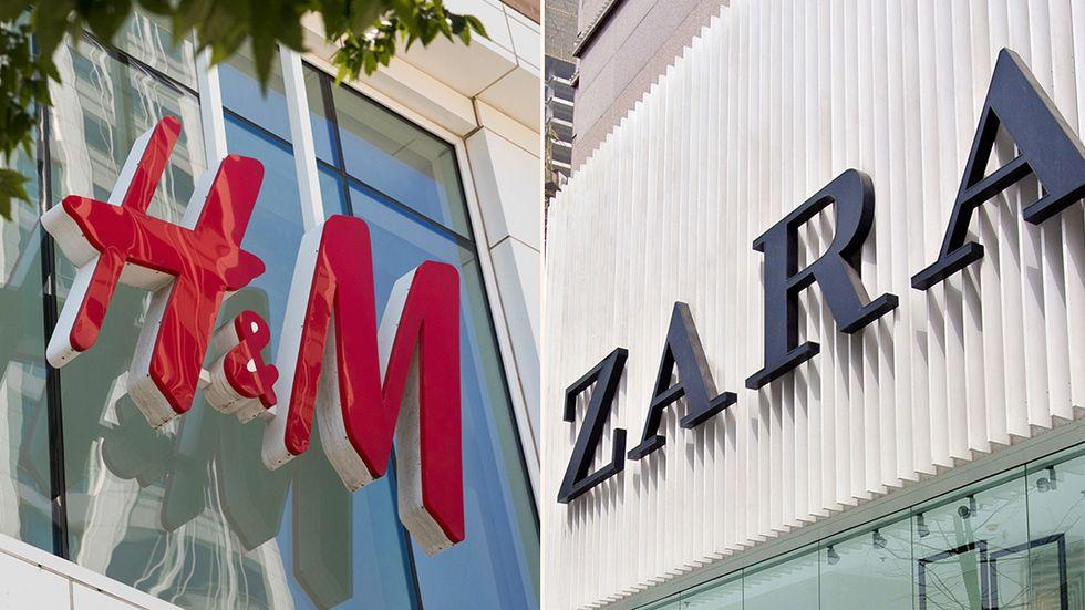 En H&M-butik i Salt Lake City, USA och en Zara-butik i Chengdu, Kina.