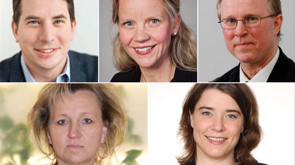 Jonas Nygren, Sundbyberg, Katarina Berggren, Botkyrka, Lars Bryntesson, Sigtuna, Boel Godhner, Södertälje och Anna Ljungdéll, Nynäshamn.