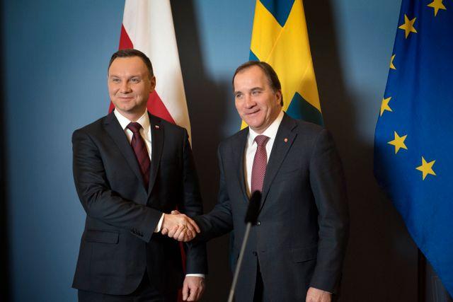 Polens president mötte Sveriges statsminister på onsdagen.