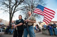 Instruktörer från den amerikanska vapenlobbyn NRA under en manifestation för vapenförespråkare i Pennsylvania 2018.