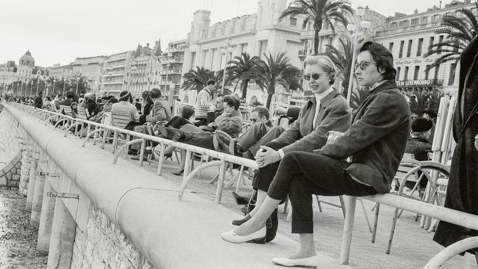 Strandpromenaden Promenade des Anglais i Nice 1958.