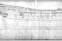 Den tidigre okända fartygsritningen av det brittiska örlogsskeppet HMS Victory, som var en av den svenske skeppsbyggaren Fredric av Chapmans första betydelsefulla verk. Sm 20-åring for han till London och arbetade på olika engelska varv. Ritningen hittades på S