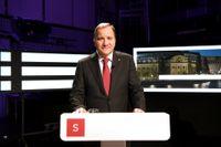 Socialdemokraternas partiledare Stefan Löfven (S) i sin sista partiledardebatt i Agenda i SVT.
