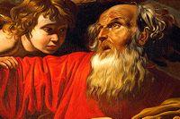 Abraham redo att offra Isak.