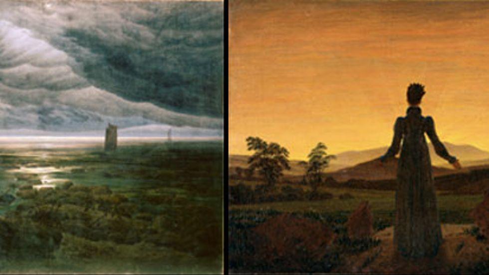 Caspar David Friedrich: Havsstrand i månsken, olja på duk, cirka 1885-1886. Till höger Kvinna i morgonsol.