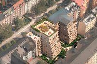 Osäkert miljardvärde. Men nya hus på Karlbergsvägen 77 handlas nu på börsen.