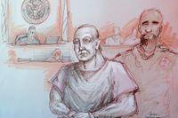 På en skiss från rättegångssalen syns den nu dömde Cesar Sayoc i förgrunden. Arkivbild.